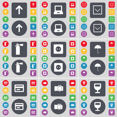 fire extinguisher symbol: Arrow up, Laptop, Arrow down, Fire extinguisher, Socket, Umbrella, Credit card, Camera, Wineglass icon symbol. A large set of flat, colored buttons for your design. illustration