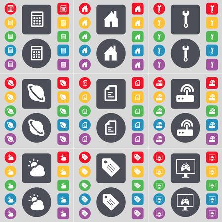 cloud tag: Calculator, House, Wrench, Planet, Text file, Router, Cloud, Tag, Monitor icon symbol. A large set of flat, colored buttons for your design. illustration Stock Photo