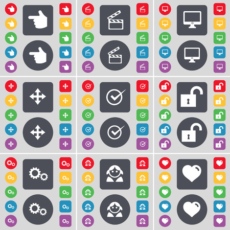 heart monitor: Hand, Clapper, Monitor, Moving, Tick, Lock, Gear, Avatar, Heart icon symbol. A large set of flat, colored buttons for your design. illustration