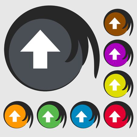 this: This side up sign icon. Fragile package symbol. Symbols on eight colored buttons. illustration Stock Photo