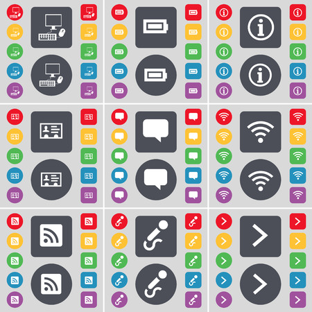 arrow right icon: PC, Battery, Information, Contact, Chat bubble, Wi-Fi, RSS, Microphone, Arrow right icon symbol. A large set of flat, colored buttons for your design. illustration