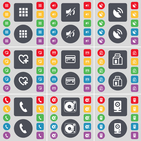 satellite dish: Apps, Mute, Satellite dish, Heart, Credit card, Packing, Receiver, Gramophone, Speaker icon symbol. A large set of flat, colored buttons for your design. illustration