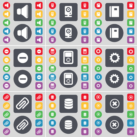 sound speaker: Sound, Speaker, Notebook, Minus, Player, Gear, Clip, Database, Stop icon symbol. A large set of flat, colored buttons for your design. illustration Stock Photo