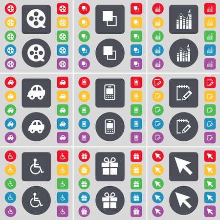 disabled person: Videotape, Copy, Diagram, Car, Mobile phone, Notebook, Disabled person, Gift, Cursor icon symbol. A large set of flat, colored buttons for your design. illustration
