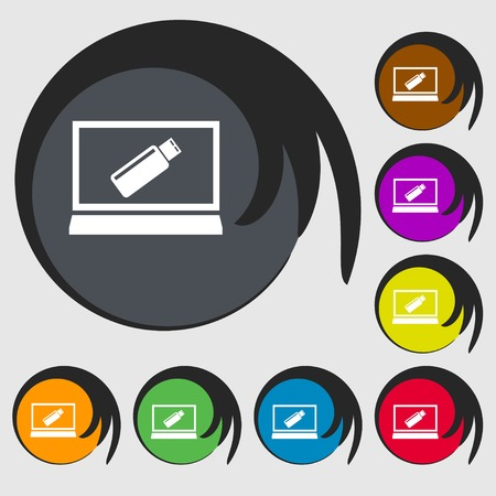 game drive: usb flash drive and monitor sign icon. Video game symbol. Symbols on eight colored buttons. illustration Stock Photo