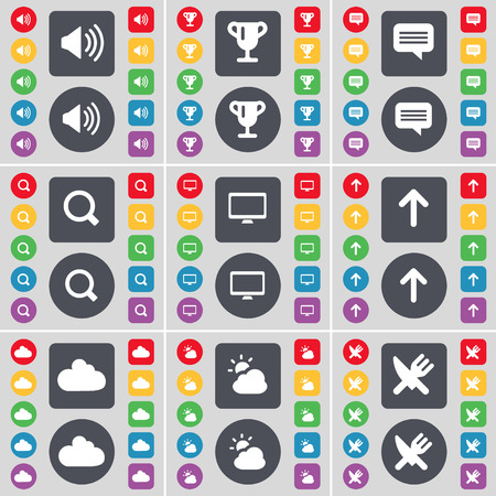 chat up: Sound, Cup, Chat, Magnifying glass, Monitor, Arrow up, Cloud, Fork and knife icon symbol. A large set of flat, colored buttons for your design. illustration Stock Photo