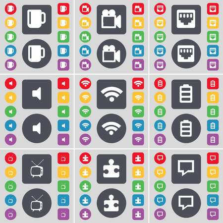 lan: Cup, Film camera, LAN socket, Sound, Wi-Fi, Battery, Retro TV, Puzzle part, Chat bubble icon symbol. A large set of flat, colored buttons for your design. illustration