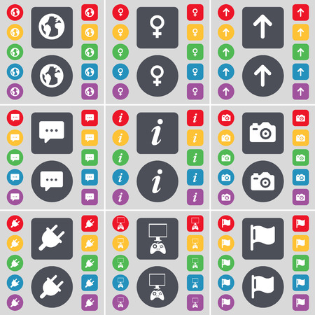 game console: Earth, Venus symbol, Arrow up, Chat bubble, Information, Camera, Socket, Game console, Flag icon symbol. A large set of flat, colored buttons for your design. illustration