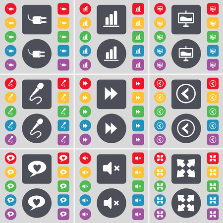 full screen: Socket, Diagram, Graph, Microphone, Rewind, Arrow left, Chat bubble, Mute, Full screen icon symbol. A large set of flat, colored buttons for your design. illustration