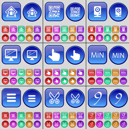 min: House, QR-code, Speaker, Monitor, Hand, MIN, Apps, Scissors, Nine. A large set of multi-colored buttons. illustration Stock Photo