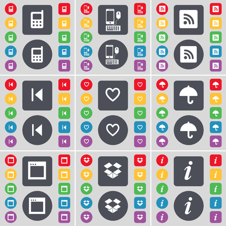 skip: Mobile phone, Smartphone, RSS, Media skip, Heart, Umbrella, Window, Box, Information icon symbol. A large set of flat, colored buttons for your design. illustration
