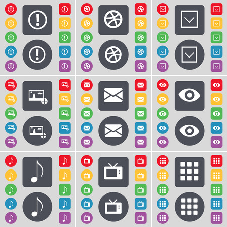 retro tv: Information, Ball, Arrow down, Picture, Message, Vision, Note, Retro TV, Apps icon symbol. A large set of flat, colored buttons for your design. illustration