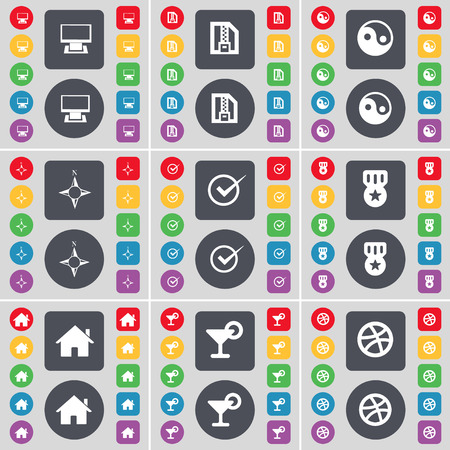 yinyang: Monitor, ZIP file, Yin-Yang, Compass, Tick, Medal, House, Cocktail, Ball icon symbol. A large set of flat, colored buttons for your design. illustration Stock Photo