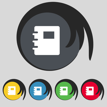 reading app: Book icon sign. Symbol on five colored buttons. illustration Stock Photo