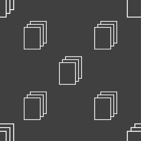 duplicate: Copy file sign icon. Duplicate document symbol. Seamless pattern on a gray background. illustration