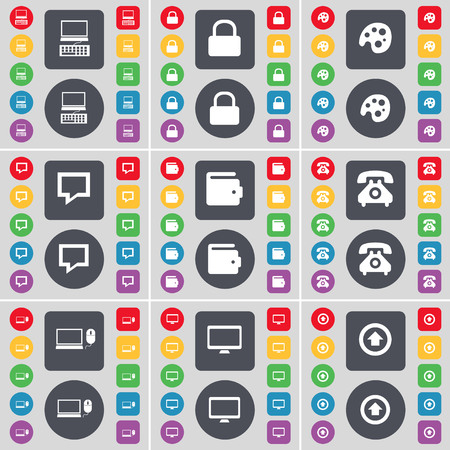 lock up: Laptop, Lock, Palette, Chat bubble, Wallet, Retro phone, Laptop, Monitor, Arrow up icon symbol. A large set of flat, colored buttons for your design. illustration Stock Photo