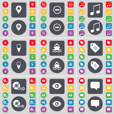 chat bubble icon: Checkpoint, Minus, Note, Checkpoint, Ship, Tag, DVD, Vision, Chat bubble icon symbol. A large set of flat, colored buttons for your design. illustration