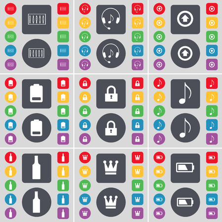 lock up: Equalizer, Headphones, Arrow up, Battery, Lock, Note, Bottle, Crown, Battle icon symbol. A large set of flat, colored buttons for your design. illustration