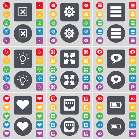 enchufe de luz: Parada, engranaje, Aplicaciones, Bombilla, pantalla completa, Chatea burbuja, corazón, conexión LAN, icono de la batería símbolo. Un gran conjunto de botones planos, de color para su diseño. ilustración