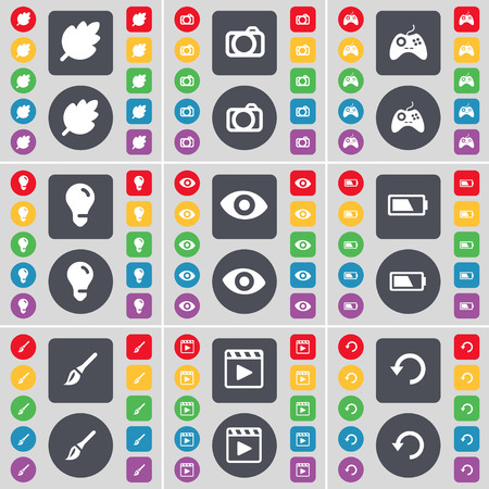 media player: Leaf, Camera, Gamepad, Light bulb, Vision, Battery, Brush, Media player, Reload icon symbol. A large set of flat, colored buttons for your design. illustration