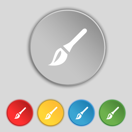 painter decorator: Paint brush, Artist icon sign. Symbol on five flat buttons. illustration Stock Photo