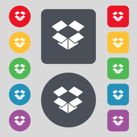 open box: open box icon sign. A set of 12 colored buttons. Flat design. illustration