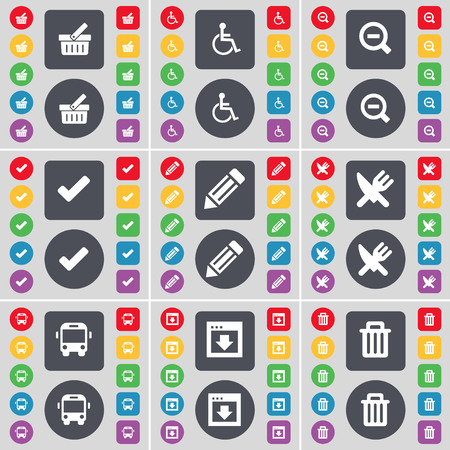 disabled person: Basket, Disabled person, Magnifying glass, Tick, Pencil, Fork and knife, Bus, Window, Trash can icon symbol. A large set of flat, colored buttons for your design. illustration