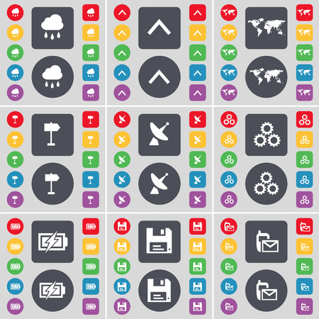 satellite dish: Cloud, Arrow up, Globe, Signpost, Satellite dish, Gear, Charging, Floppy, SMS icon symbol. A large set of flat, colored buttons for your design. illustration