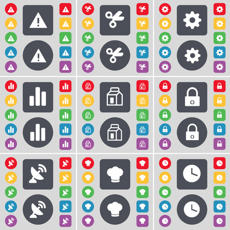 satellite dish: Warning, Scissors, Gear, Diagram, Packing, Lock, Satellite dish, Cooking hat, Clock icon symbol. A large set of flat, colored buttons for your design. illustration Stock Photo