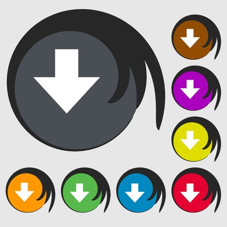 downloading: Download sign. Downloading flat icon. Load label. Symbols on eight colored buttons. illustration Stock Photo