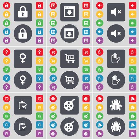 videotape: Lock, Window, Mute, Venus symbol, Shopping cart, Hand, Survey, Videotape, Bug icon symbol. A large set of flat, colored buttons for your design. illustration