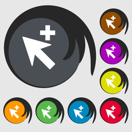 cursor arrow: Cursor, arrow plus, add icon sign. Symbols on eight colored buttons. illustration