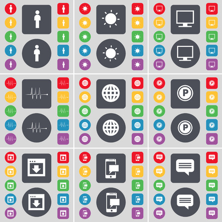 chat bubble icon: Silhouette, Light, Monitor, Pulse, Globe, Parking, Window, SMS, Chat bubble icon symbol. A large set of flat, colored buttons for your design. illustration