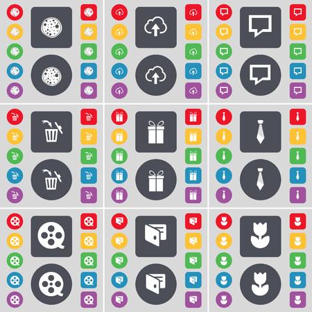 lazo regalo: Pizza, Nube, charla de la burbuja, bote de basura, regalo, lazo, cintas de vídeo, Monedero, símbolo Icono de la flor. Un gran conjunto de botones planos, de color para su diseño. ilustración Foto de archivo