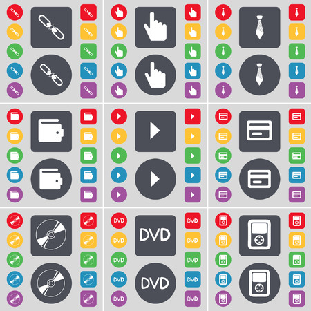 dvd player: Link, Hand, Tie, Wallet, Media play, Credit card, Disk, DVD, Player icon symbol. A large set of flat, colored buttons for your design. illustration