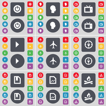 retro tv: Power, Silhouette, Retro TV, Media play, Airplane, Compass, File, Graph, Campfire icon symbol. A large set of flat, colored buttons for your design. illustration
