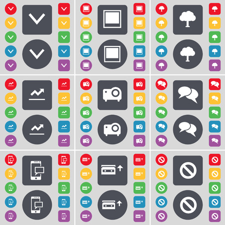 chat window: Arrow down, Window, Tree, Graph, Projector, Chat, SMS, Cassette, Stop icon symbol. A large set of flat, colored buttons for your design. illustration