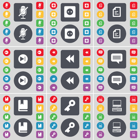skip: Microphone, Socket, Text file, Media skip, Rewind, Chat bubble, Dictionary, Key, Laptop icon symbol. A large set of flat, colored buttons for your design. illustration Stock Photo