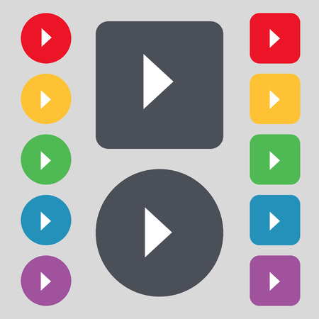 inactive: play button icon sign. A set of 12 colored buttons. Flat design. illustration