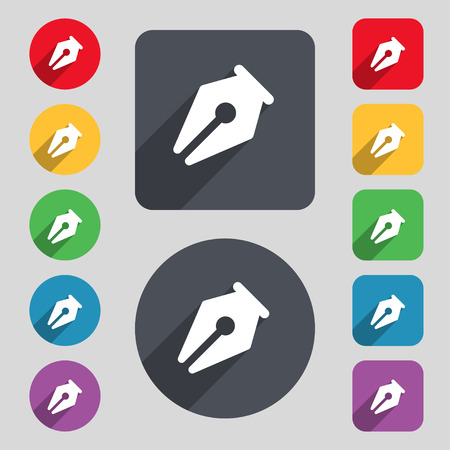 secretarial: pencil icon sign. A set of 12 colored buttons and a long shadow. Flat design. illustration