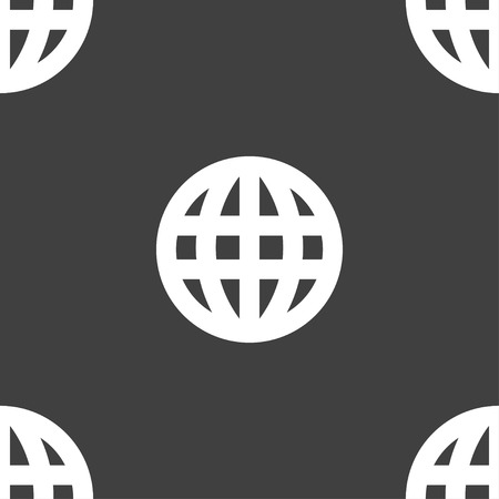 geography background: Globe, World map geography icon sign. Seamless pattern on a gray background. illustration