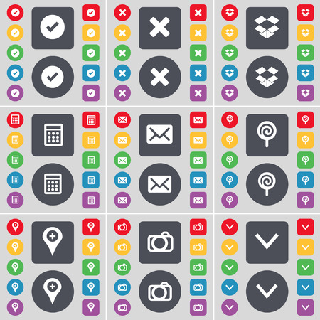 arrow down icon: Tick, Stop, Dropbox, Calculator, Message, Lollipop, Checkpoint, Camera, Arrow down icon symbol. A large set of flat, colored buttons for your design. illustration