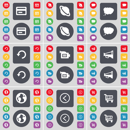 credit cart: Credit card, Planet, Chat cloud, Reload, Film camera, Megaphone, Earth, Arrow left, Shopping cart icon symbol. A large set of flat, colored buttons for your design. illustration Stock Photo