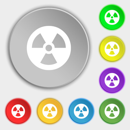 heat radiation: radiation icon sign. Symbol on five flat buttons. illustration