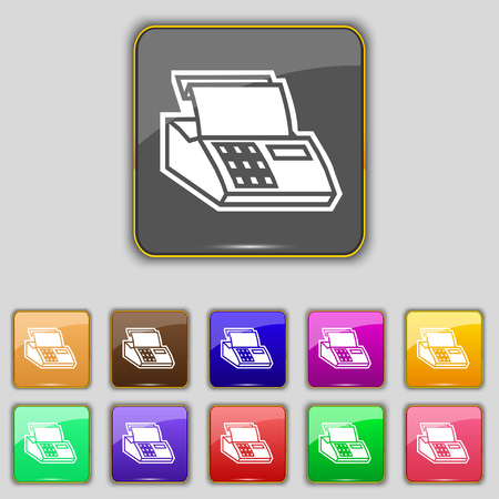 checkout line: Cash register machine icon sign. Set with eleven colored buttons for your site. illustration