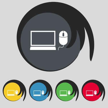 widescreen: Computer widescreen monitor, mouse sign icon. Set colourful buttons illustration