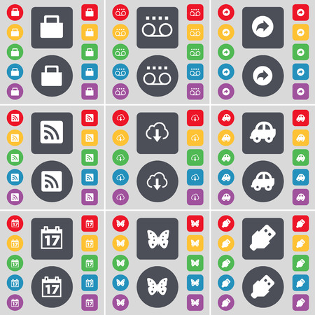 buttery: Lock, Cassette, Back, RSS, Cloud, Car, Calendar, Buttery, USB icon symbol. A large set of flat, colored buttons for your design. illustration