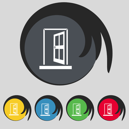 door buttons: Door Enter or exit icon sign. Symbol on five colored buttons