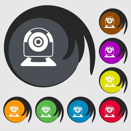 video chat: Webcam sign icon. Web video chat symbol. Camera chat. Symbols on eight colored buttons. illustration