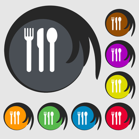 fork knife spoon: fork, knife, spoon icon sign. Symbol on eight colored buttons. illustration